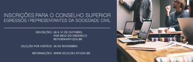 Abertas inscrições de egressos e representantes da sociedade civil para o Conselho Superior do IFF