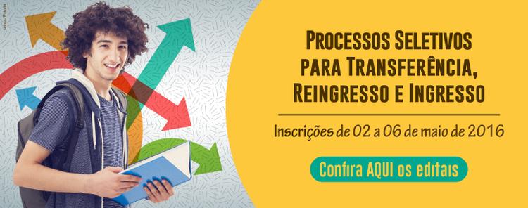 Banner Processo Seletivos para Transferência, Reingresso e Ingresso