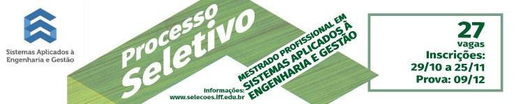 Inscrições abertas para o Mestrado em Sistemas Aplicados à Engenharia e Gestão (SAEG)