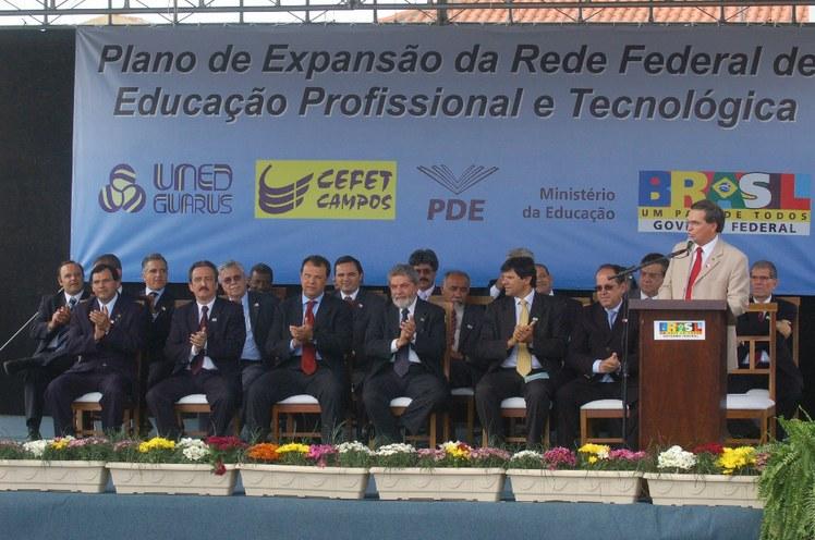 Guarus - Presidente Lula, Fernando Haddad e Sérgio Cabral na inauguração da Uned Guarus