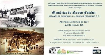 Convite da exposição Memórias do Futebol, realizada pelos Centros de Memória.