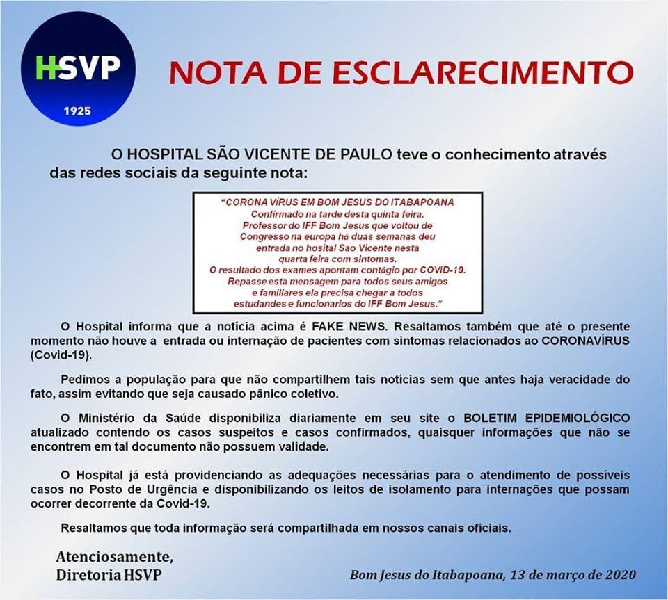 Comunicado Hospital São Vicente de Paulo