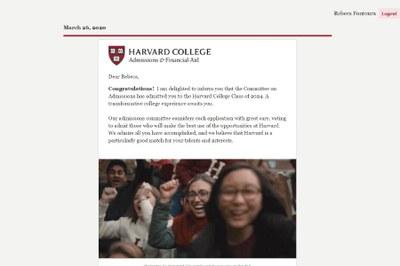 Carta de Aceite de Harvard - Rebeca Fontoura