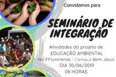 Seminário acontecerá no Auditório Professora Amanda Celeste Pimentel, no IFF Bom Jesus.