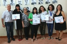O diretor-geral Carlos Freitas e professoras prestigiaram a cerimônia de premiação das estudantes e também foram homenageados.
