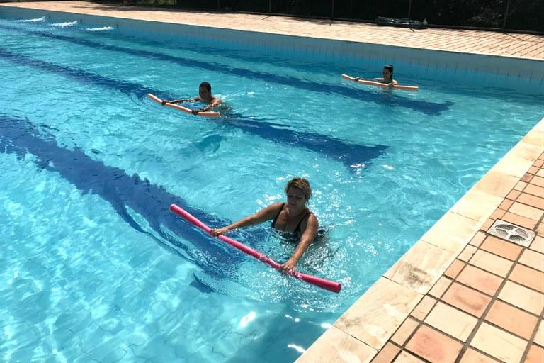 Primeira aula de natação para servidores