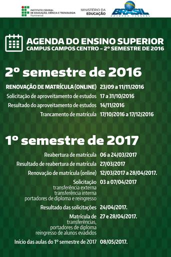 Agenda do Ensino Superior 2016.2