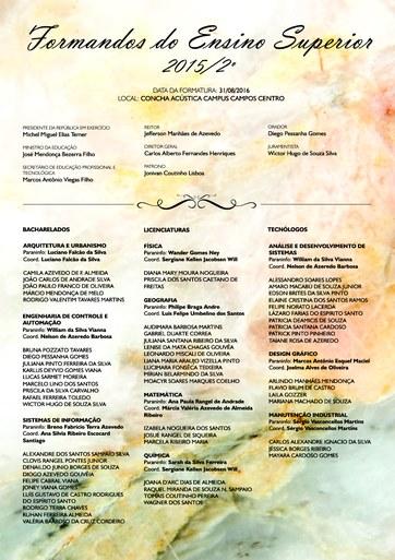 Convite de formatura superior 2015