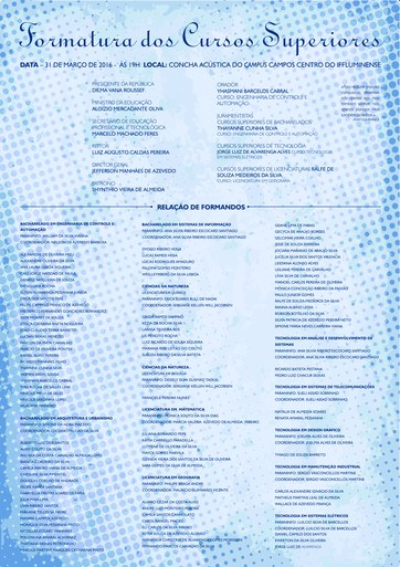 Convite de formatura 2015.1 Superior