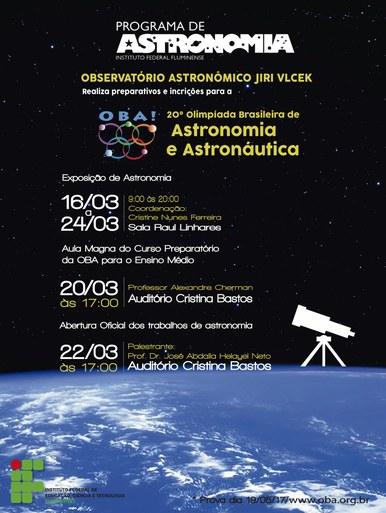 Cartaz de divulgação da 20ª Olimpíada Brasileira de Astronomia e Astronáutica