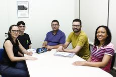 Representantes do IFF Campos Centro na CPA. Da esquerda para direita: Jacqueline, Kleverson, Wagner, Luciano e Patrícia.(Foto: Raphaella Cordeiro)