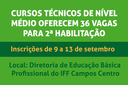 Inscrições para 2ª Habilitação em Cursos Técnicos de Nível Médio acontecem de 9 a 13 de setembro