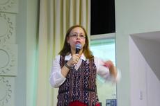 A professora Alcina Braz em palestra no Campus Campos Centro do IFF (Felipe Oliveira/Núcleo de Imagens do IFF)