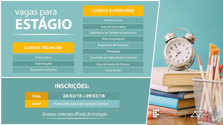 Inscrições para estágio no Campus Campos Centro do IFF