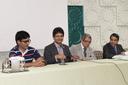 A mesa de abertura dos trabalhos composta por gestores do IFF e acadêmicos locais.