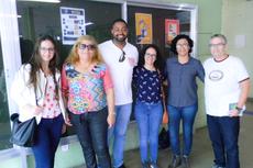 Karina Machado, Sirley Brandão, Diego Augusto, Gabriela Leite e o diretor de Assuntos Estudantis do Campos Centro, Carlos Augusto Boynard (Foto: Rakenne Braga)