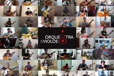 Reprodução de vídeo em que cada integrante aparece tocando violão em casa (Adaptação Design da Ascom).
