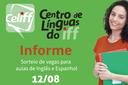 Celiff faz realiza segunda chamada para aulas de línguas estrangeiras.