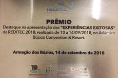 Placa referente à premiação concedida pela 43ª Reditec.