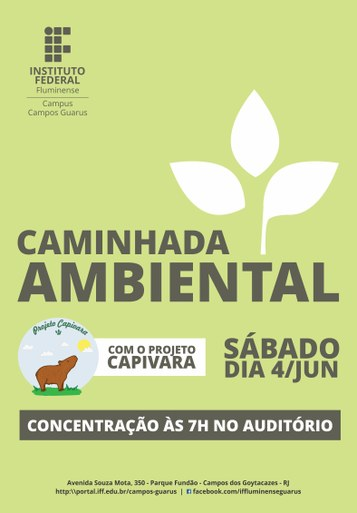 Cartaz Caminhada Ambiental com o Projeto Capivara
