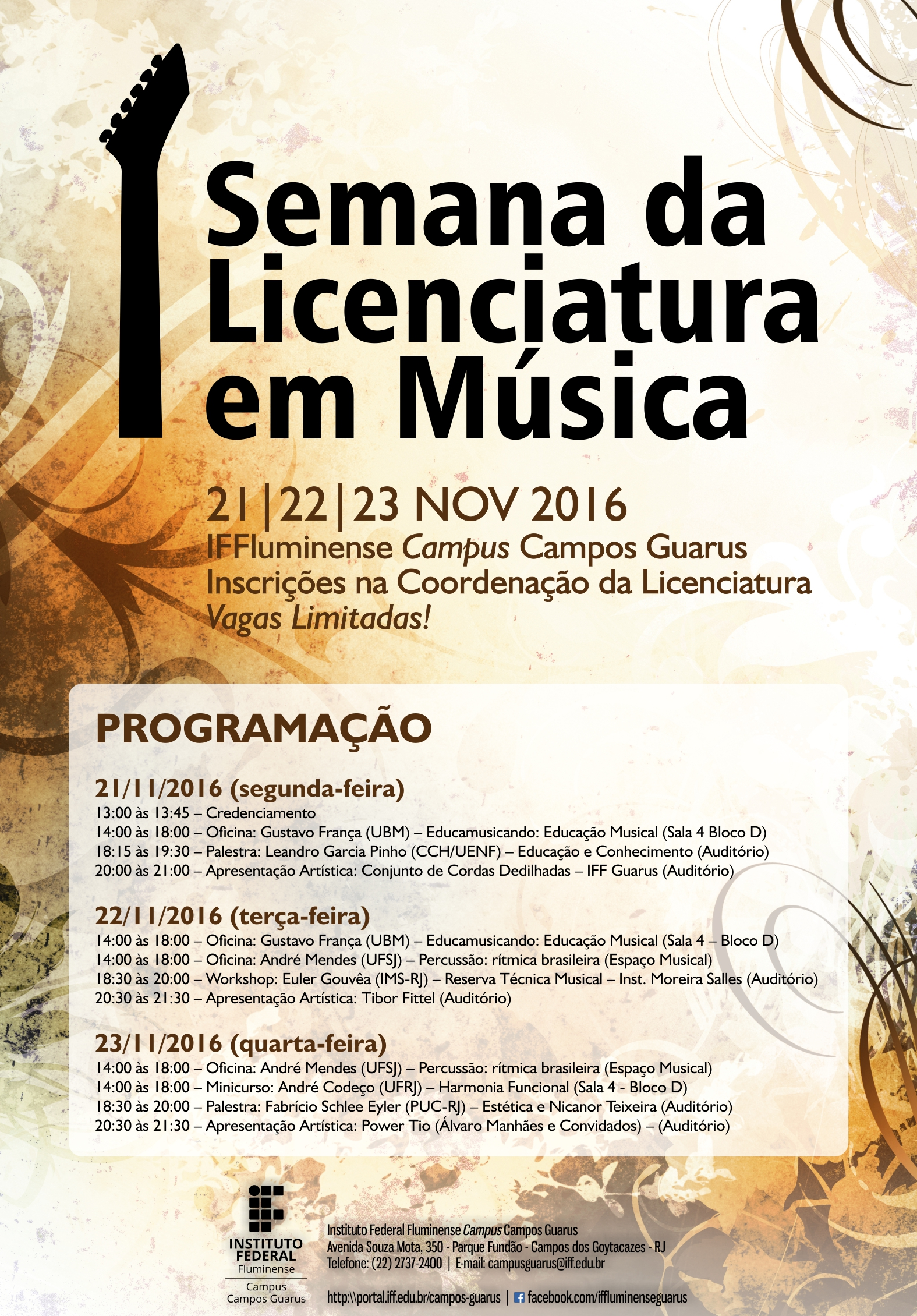 Cartaz - I Semana da Licenciatura em Música do Campus Campos Guarus