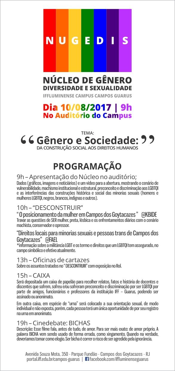 Programação do evento do Nugedis do Campus Guarus
