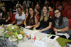 Compondo a mesa de jurados: Anderson Henrique Eleutério, Daniela Aguiar, Karine Lobo e Milena Ferreira
