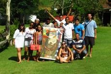 O grupo de alunos e servidores participou da viagem de premiação pelo desfile na IV Semana Acadêmica