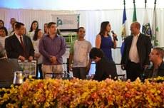Homenagem aos responsáveis pela obra, durante a inauguração do Parque Acadêmico Industrial