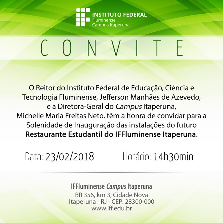 Convite de inauguração do Restaurante Estudantil do Campus Itaperuna
