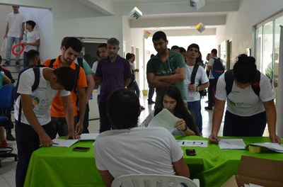 Credenciamento de participantes durante a 6ª Semana Acadêmica do IFF Itaperuna