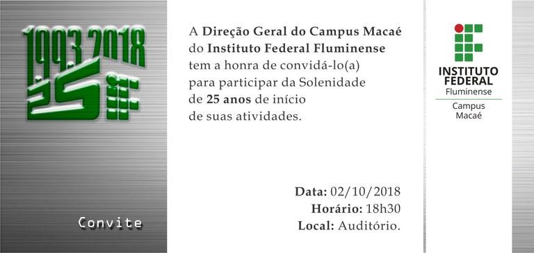 Convite 25 anos Campus Macaé