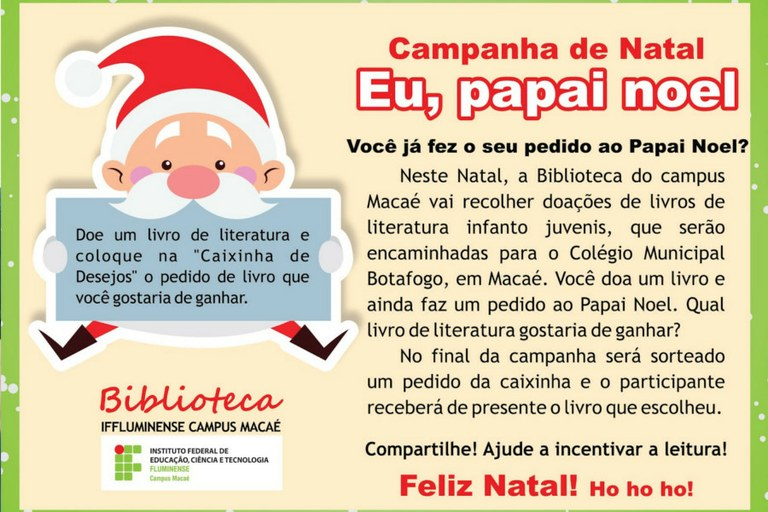 Imagem da campanha Eu, Papai Noel