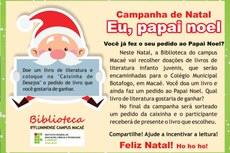 Campanha de natal 2015 promovida pela biblioteca do campus Macaé.