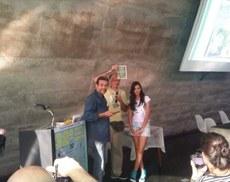 Alberto de Souza, Gazy Andraus e Sara Gaspar na premiação do Troféu Ângelo Agostini, em 2016.