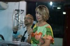 Regiane de Souza Costa durante seu discurso de posse.