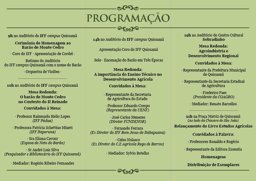 Programação evento Barão de Monte Cedro
