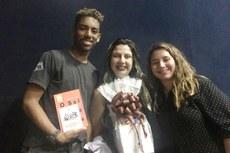 Rômulo, professora Andressa e Eduarda no IFF Guarus.