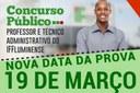 RETIFICAÇÃO DO EDITAL ALTERA A DATA DA PROVA PARA 19 DE MARÇO DE 2017