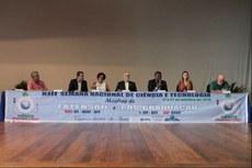 Gestores das três instituições compuseram a mesa de abertura do evento