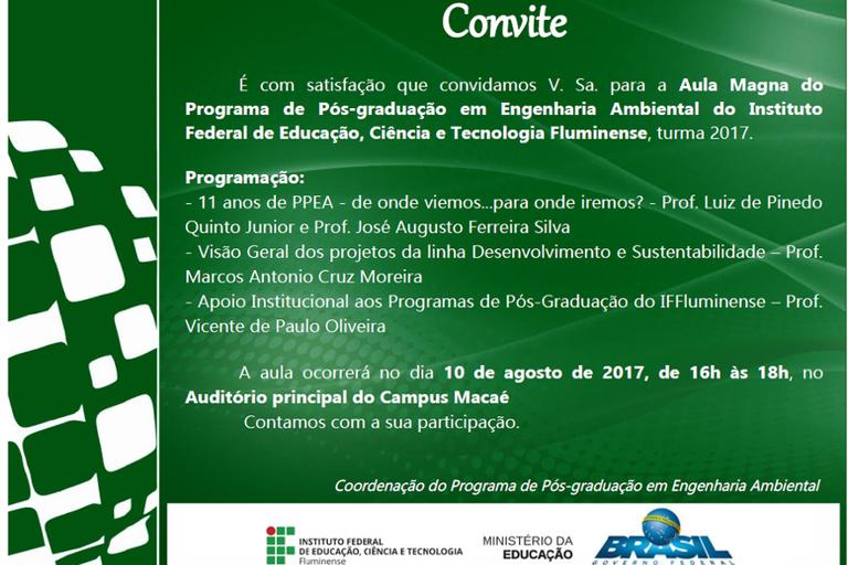 Convite aula magna PPEA