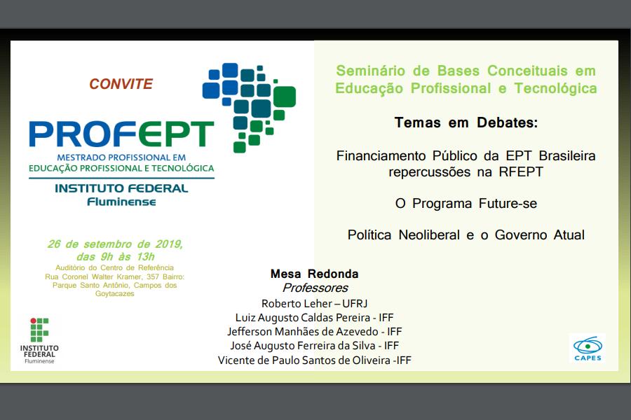 Convite para seminário do Mestrado Profissional em Educação Profissional e Tecnológica.