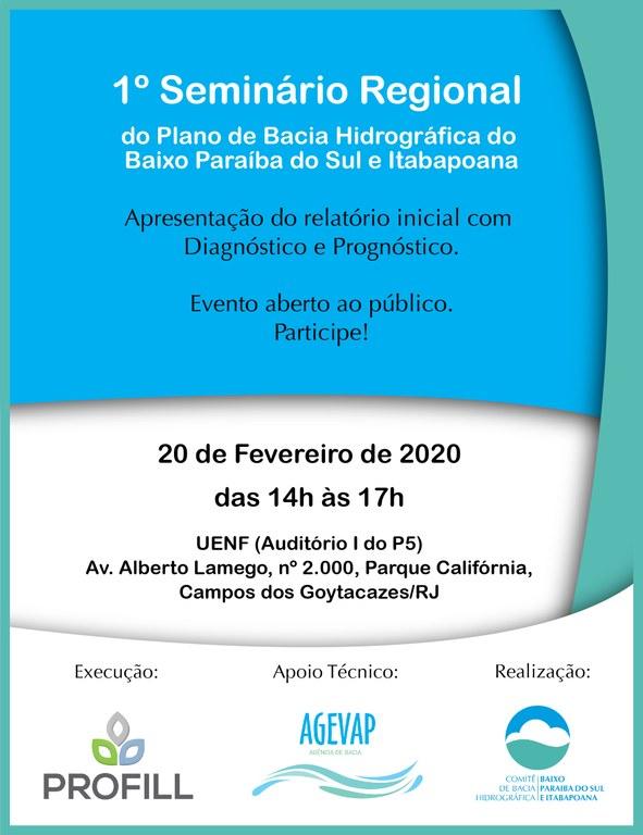 Cartaz Seminário Regional do Plano de Bacia Hidrográfica do Baixo Paraíba do Sul e Itabapoana