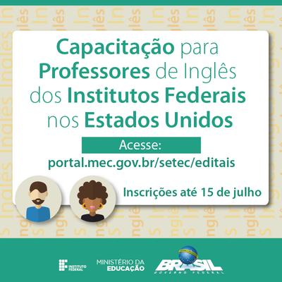 Cartaz Capacitação para professores de Inglês