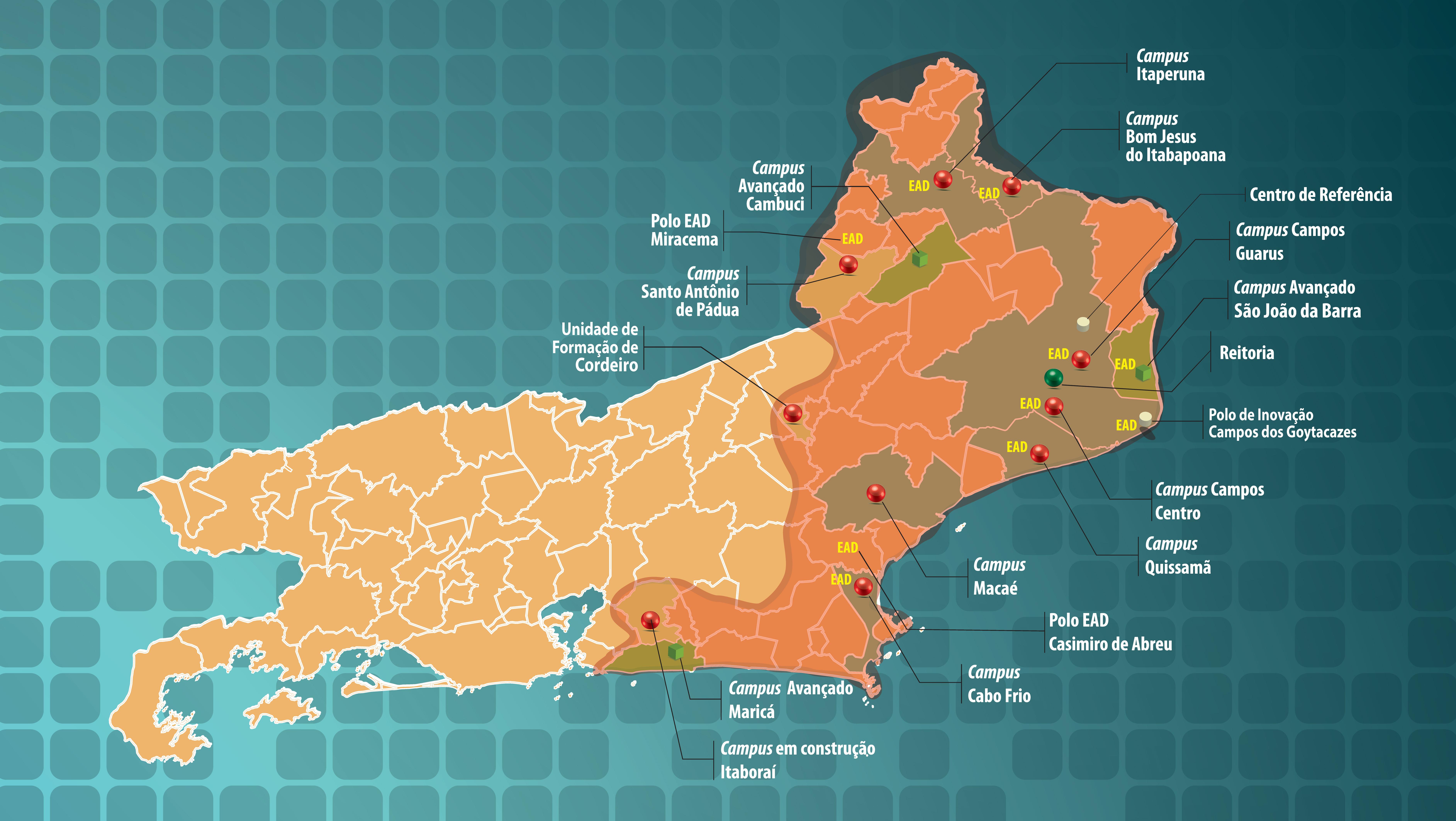 Mapa do território de atuação do IFFluminense