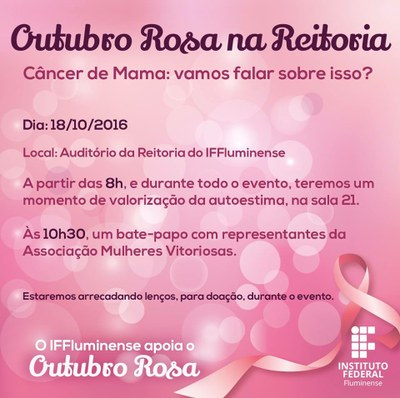 Convite Outubro Rosa na Reitoria