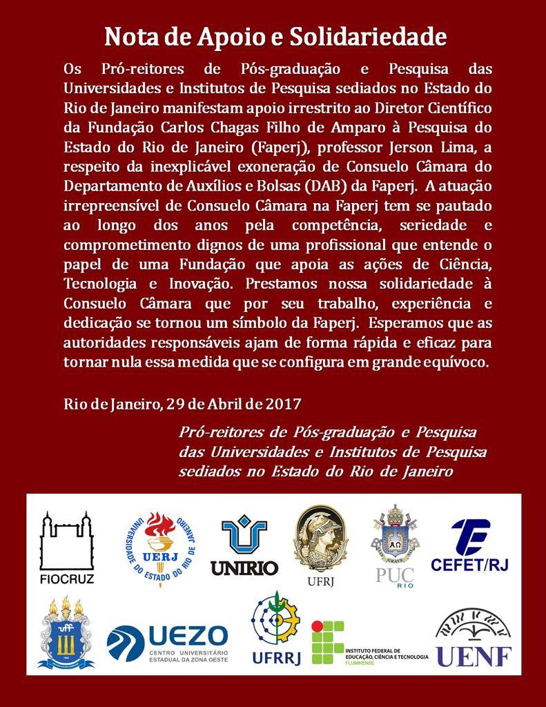 Nota de apoio e solidariedade ao diretor Científico da Faperj