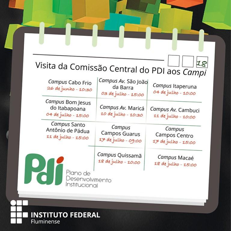 Agenda de visita aos campi para apresentação do PDI e PPI