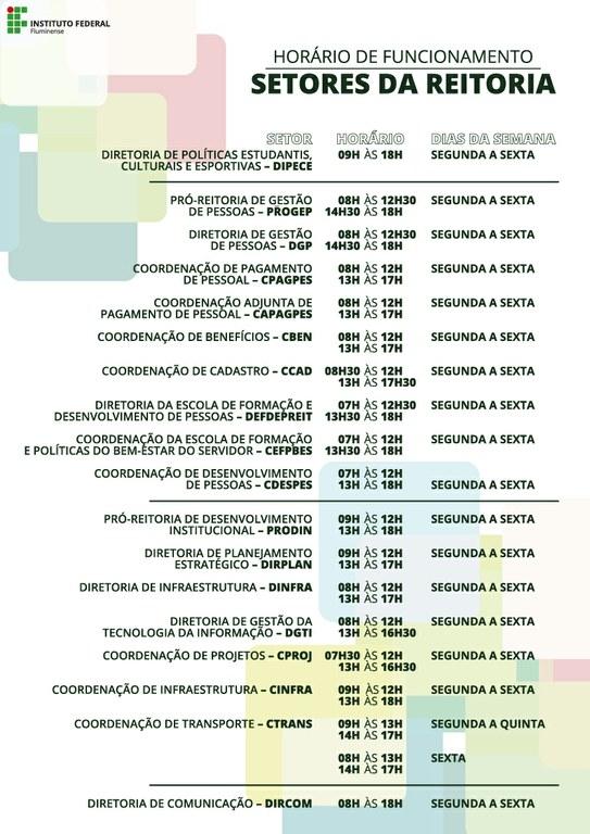 Horário de funcionamento dos setores da Reitoria