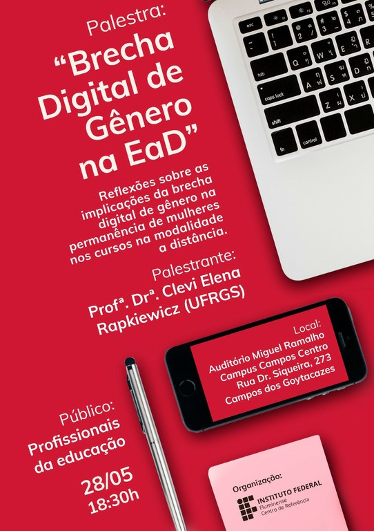 Cartaz Palestra Brecha Digital de Gênero na EaD